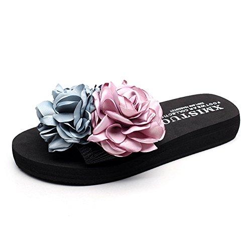Women Summer Flat Sandals Jelly Sandals Open-toe Beach Sandals Gold - 8