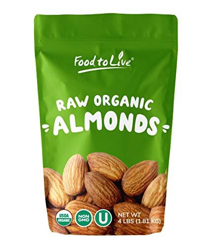 Raw Organic Almonds, 4 Pounds - Bulk,
