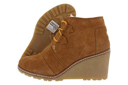 TOMS Women's Desert Wedge Wheat Suede/Shearling/Faux Crepe Wedge Boot (9.5, Wheat Suede/Shearling/Faux Crepe Wedge) (Suede Wedge Sheepskin Womens)