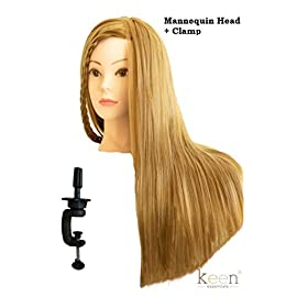 CELINE 20″ Long Cosmetology Mannequin Manikin Head 100% Synthetic Hair (Golden Hair) with Free Clamp, Perfect for All Hairdressing Styling Practice Training Display Doll Head Beauty Schools