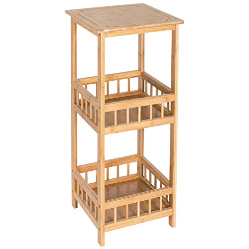 HollyHOME 3 Tier 100% Bamboo Sofa Side Tall End Table, Square Flower Stand with Storage Rack Bathroom Kitchen Living Room Holder, Multifunctional Storage Organizer, Telephone Stand Storage Plant Stand