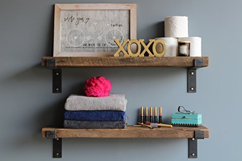 Urban Legacy Reclaimed Barn Wood Shelves | Amish Handcrafted in Lancaster, PA Rustic, Industrial, with Raw Metal Brackets | Set of 2-36 inches Long, 9 inches deep, 2 inches Thick (Natural)