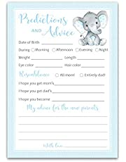 BLUE ELEPHANT Prediction and Advice Cards - Pack of 25 - BOY Baby Shower Games, New Parents, Mom & Dad to be, Mommy & Daddy Message, Couples Coed Shower Activity Keepsake Book BLUE Polka Dot G501-PDAV