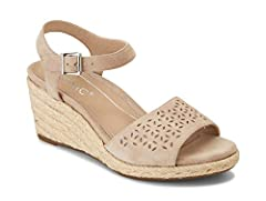 You'll be standing tall in this gorgeous adjustable jute-wrapped espadrille wedge boasting a wide suede strap across the toe.