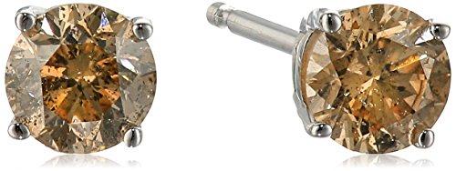 Champagne Diamond 14k White Gold Stud Earrings (1/2cttw, I2-I3 Clarity)