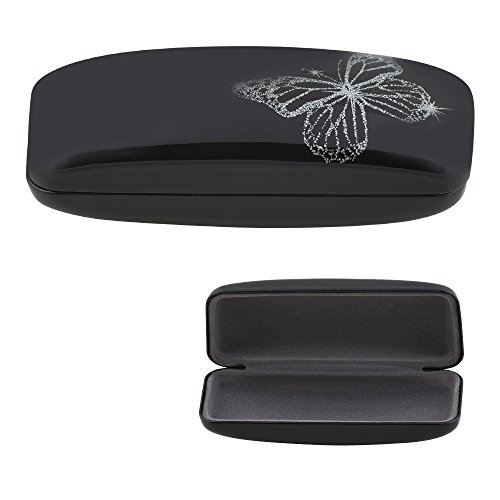 Hard Clamshell Glasses Case - Black Durable Protective Eyeglass Holder with Shiny Gloss Finish and Sparkly Butterfly Design - by - Pink Sunglasses Sparkly