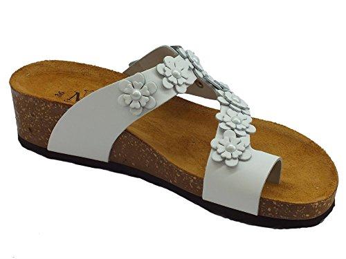 Mercante Bianco Piel Di Para Fiori Mujer De Sandalias 0g0WrzH8