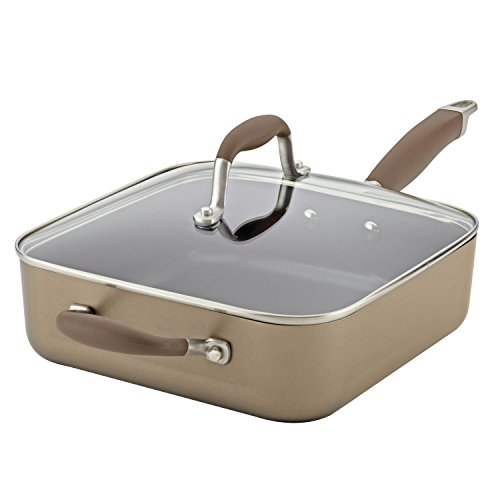 Anolon Advanced Hard-Anodized Nonstick 4-Quart Covered Square Sauté with Helper Handle, Bronze