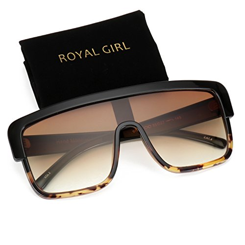 ROYAL GIRL Premium Oversized Sunglasses Women Flat Top Square Frame Shield Fashion Glasses(Brown Gradient, 77) (Men For Sunglasses Shield)