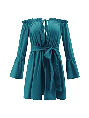 Challyhope Women Deep V Sexy Ruffles Off The Shoulder Flare Sleeve Short Dress Solid Lace-up Bow Party Swing Dresses (XXL, Blue) by Challyhope - Women Mini Dress (Image #5)