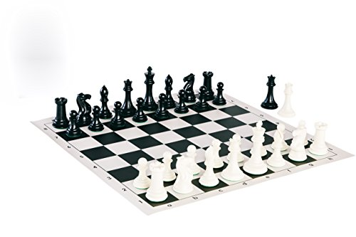 Quadruple Weight Tournament Chess Game Set - Chess Board Game with Staunton Ivory Chess Pieces, Black Vinyl Chess Board ...