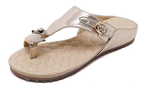 Minetom Mujer Verano Casual Diamantes De Imitación Sandalias Chanclas Planos Deslizamiento En La Comodidad Zapatos Piso Dorado