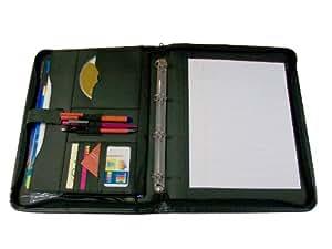 BDS ZBBA4 - Carpeta de piel con 4 anillas con espacio para CD, tarjetas y bolígrafos, color negro