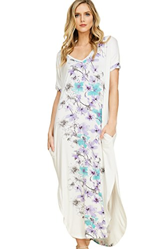 Annabelle Women's Floral Pattern at Center Back Cutout Short Sleeve Maxi Dress Lilac Large ()