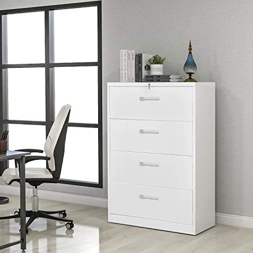 Lateral File Cabinet, Metal Steel Lockable Filing Cabinet with Keys, 4 Drawers, White
