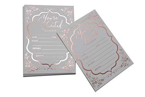 Fill in Invitations Wedding Rose Gold Foil – 25 Pack – Wedding Invitation, Hot Stamp Press. Party Invitations Birthday, Anniversary Celebration, Bridal or Baby Shower (Invitation Gold 1)