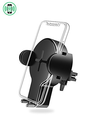 Wireless Car Charger Mount, Air Vent Fast Charging Holder for Apple iPhone 8/8plus, iPhone X, Samsung Galaxy S9, etc (W2, Black)
