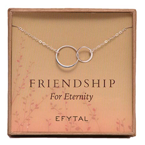 er Friendship for Eternity Necklace, Two Interlocking Infinity Circles Gift for Best Friend ()