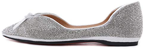Chic Ballerines Noeud Aisun Etincelant Femme Bout Argent Strass Pointu HqwP4