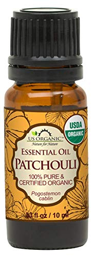 US Organic 100% Pure Patchouli Essential Oil - USDA Certified Organic, Steam Distilled - W/Euro droppers (More Size Variations Available) (10 ml / .33 fl oz)