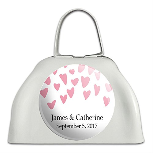 Graphics and More Personalized Custom Falling Hearts Pink Wedding Marriage Bridal Shower White Cowbell Cow Bell
