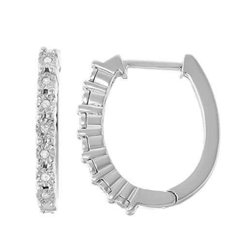 Sterling Silver Diamond Illusion Plate Hoop Earrings