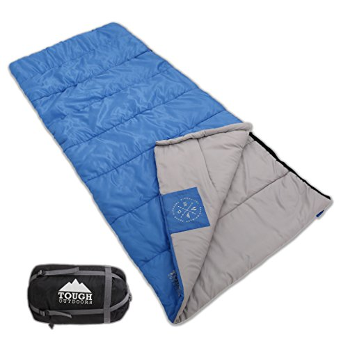 Envelope Sleeping Bag with Compression Sack – Perfect for Camping & Sleepovers. Comfort Temperature Range 40-60°F. Fits Adults up to 6'1. Ripstop Waterproof Shell & High-Loft Fill Construction