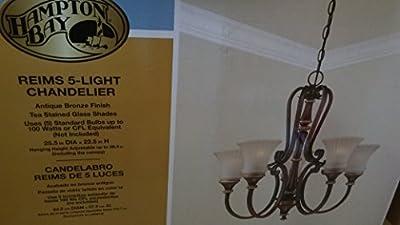 Hampton Bay Reims 5-Light Berre Walnut Chandelier #208