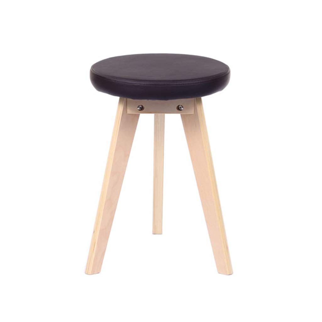 BLACK Small Bench Simple Stool Bentwood Bench Home Fabric Dining Stool 32  32  48CM (color   Black)