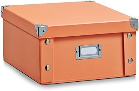 Zeller 17857 Caja de almacenaje de cartón Naranja (Apricot) 31 x 26 x 14 cm: Amazon.es: Hogar
