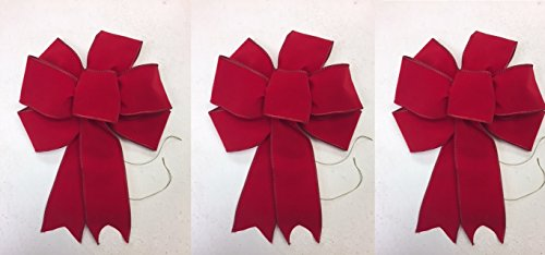 Wreaths For Door Red Velvet Christmas Bows Set of 3 Wired Red Ribbon Bow Handmade Holiday Bows 8-9 Inches in Diameter 6 Inch Tails Use for Wreaths Stair Rails Lamp Posts Fireplace Mantles