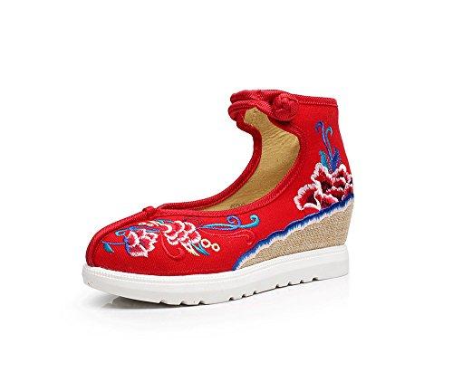 etnico scarpe Red del ricamate biancheria casual femminili tendine scarpe moda comodo DESY suola aumento stile wdp0fqw