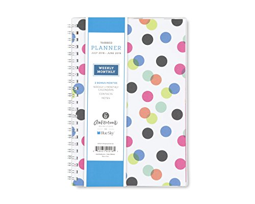 Ampersand for Blue Sky 2018-2019 Academic Year Weekly & Monthly Planner, Twin-Wire Binding, 5