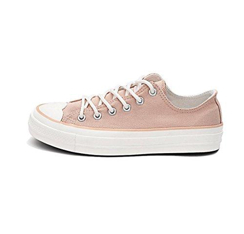 Breathable Student Segeltuchschuhe Sommer flache Schuhe beiläufige Brettschuhe im Freiensportschuhe ( Farbe : Weiß , größe : 37 ) Pink