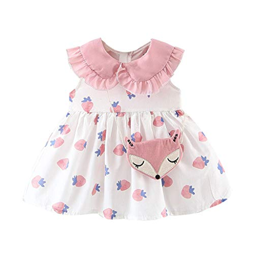 manweidianzi Toddler Baby Kids Girls Ruffles Flying Sleeve Frill Doll Collar Strawberry Print Dress+Satchel Princess Dresses (Pink,80)