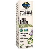 Garden of Life mykind Organics Liver Bitters Detox Spray 2 fl oz (58 mL) Liquid,  Artichoke, Dandelion & Burdock, Alcohol Free, No Added Sugar, Organic, Non-GMO, Vegan & Gluten Free Herbal Supplement