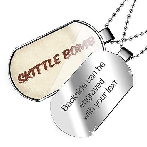 NEONBLOND Personalized Name Engraved Skittle Bomb Cocktail, Vintage Style Dogtag Necklace ()