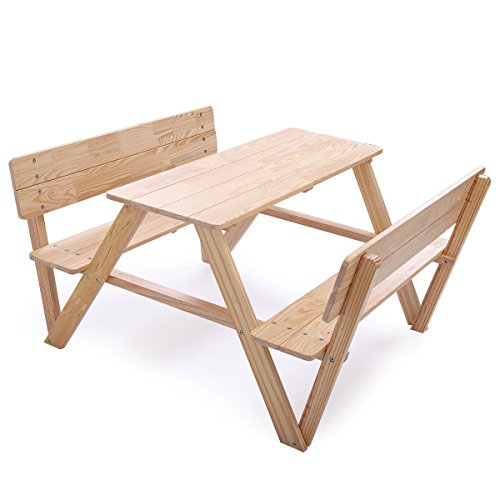 - Cypress Shop Wood Kid Picnic Table Set with Benches Children Outdoor Indoor Camping Table and Chairs with Backrest for Backyard Patio Garden Lawn Home Furniture