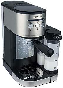 ماكينة تحضير قهوة اسبرسو بأداة وخزان صنع رغوة الحليب من تورنيدو TCM-14125، 15 بار - اسود وفضي