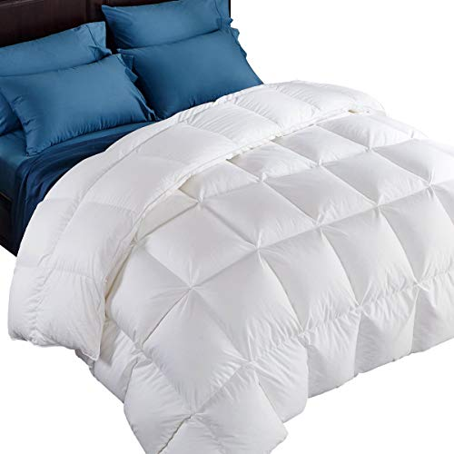 puredown 800 Fill Power Natural White Goose Down Comforter 700 Thread Count 100% Egyptian Cotton Fabric King Size White