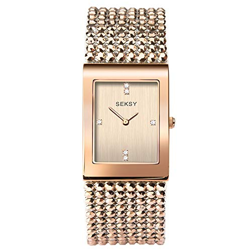 Women's Shimmer with Metallic Rose Gold Swarovski Crystal Bracelet Watch, Water Resistant, Extra Clasps, Seksy Collection by Sekonda (Rose Gold Shimmer) from Sekonda