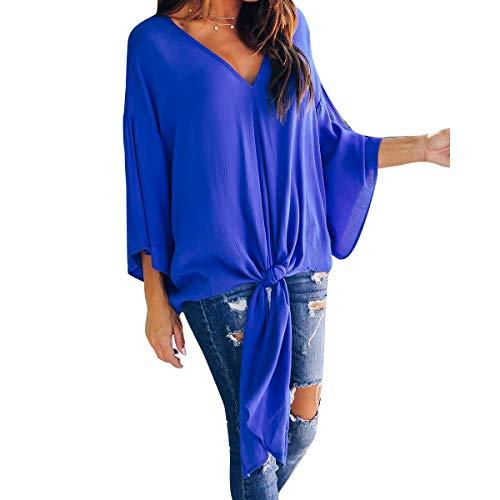Femmes V en Jahurto pour en Mousseline T Shirt Bleu Encolure wYFX8w