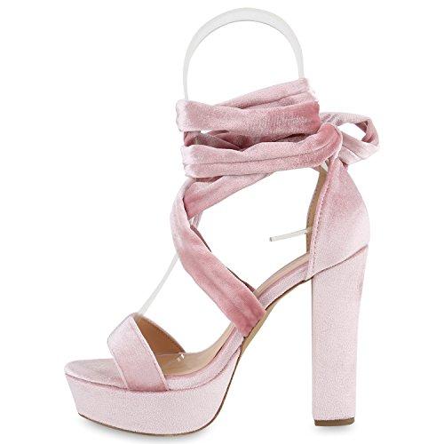 Stiefelparadies Damen Plateau Sandaletten Party Schuhe Blockabsatz High Heels Glitzer Absatzschuhe T-Strap Abendschuhe Abiball Flandell Rosa Band