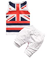Jimall Unisex Baby Cotton British Flag Clothing Sets T-Shirt and Pants Bust 54cm