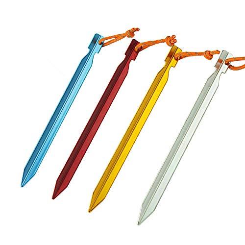 HpyAlwys - Juego de 8 pinzas triangulares de aleación de aluminio de 18 cm de largo para tienda de campaña, toldo, uñas, accesorios de tienda de campaña, arena, nieve, barro de tierra, equipo de acampada Hpybest