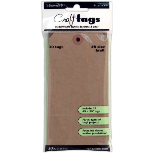 ssentials Surfaces Kraft Tag No.8, Brown, 20/Pack (Brown Tag)