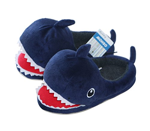 OSHOW Kids Cotton Slip On House Slipper Warm and Soft, Cute Plush Animal Shark Costume Shoes, Size US 11.5-12.5 Little (Slip On Kids)