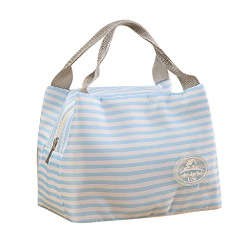 CCFAMILY Insulated Cold Canvas Stripe Picnic Carry Case Thermal Portable Lunch Bag