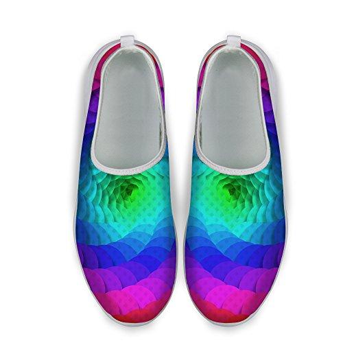 Pour U Conceptions Rayures Colorées Impression Maille Confortable Femmes Chaussures De Course À Pied Multi A1