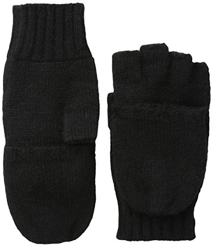 Sofia Cashmere Women's Fingerless Flip-Top Mittens, Black, One Size